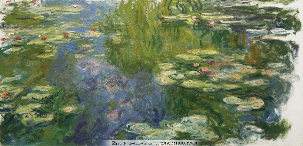 柳树池塘油画图片素材 风景油画 绘画 文化艺术 世界名画