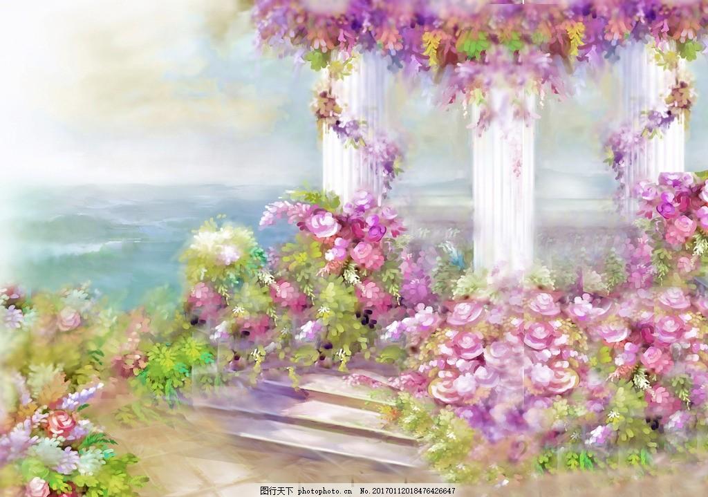 花园美景 油画 花园 油画 美景 水彩 背景 设计 动漫动画 风景漫画