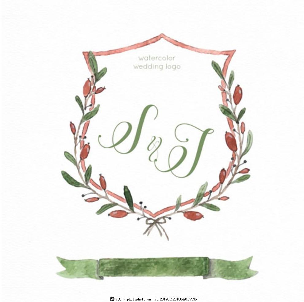 手绘水彩花卉婚礼标签