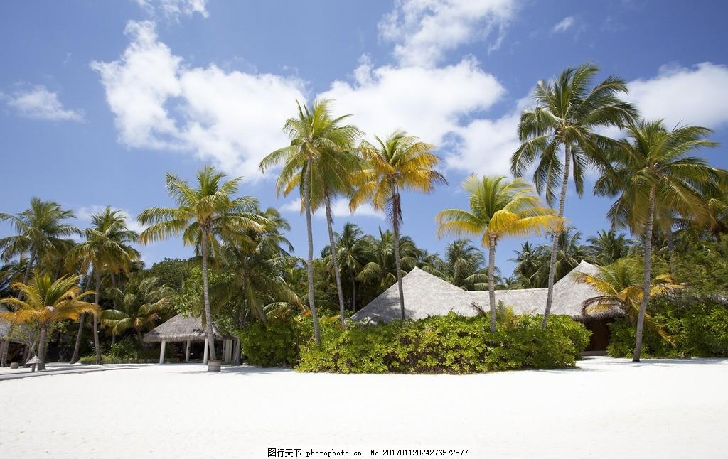 马尔代夫 屋子 房子 海岛 海滩 大海 椰子树 海面 自然风景