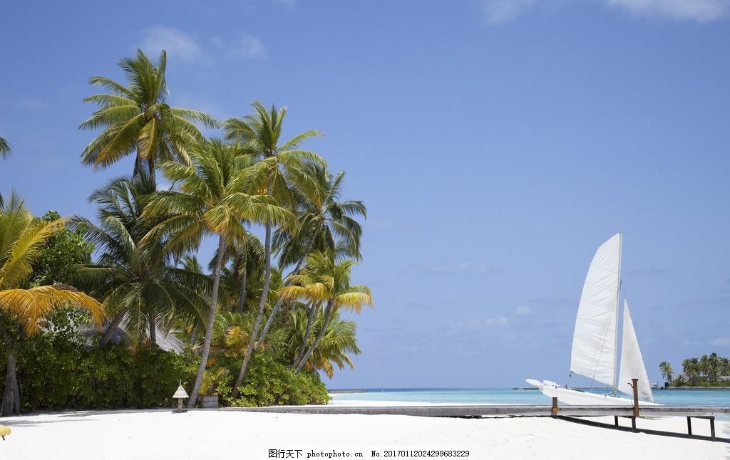 马尔代夫海的帆船 马尔代夫 海岛 海滩 大海 椰子树 椰子 海面 自然