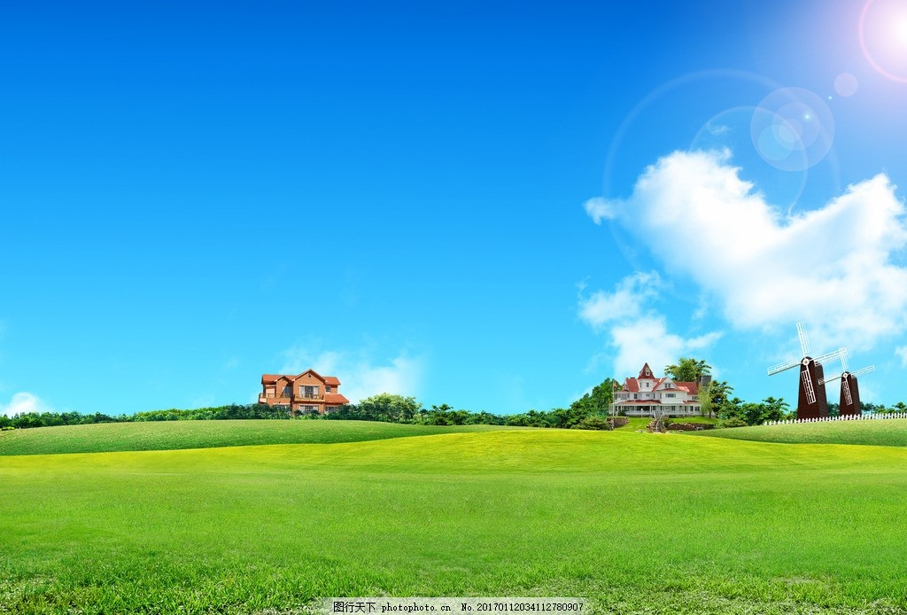 蓝天白云草地,绿地 草原 草坪 天空 晴天 云朵 蓝天