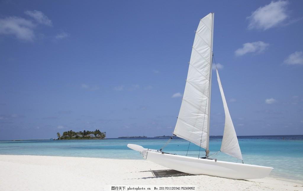 海边的帆船 船 海岛 海滩 大海 椰子树 椰子 海面 自然风景 度假 旅游