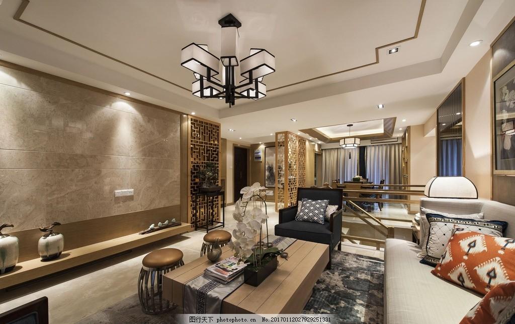 新中式室内设计效果图客厅