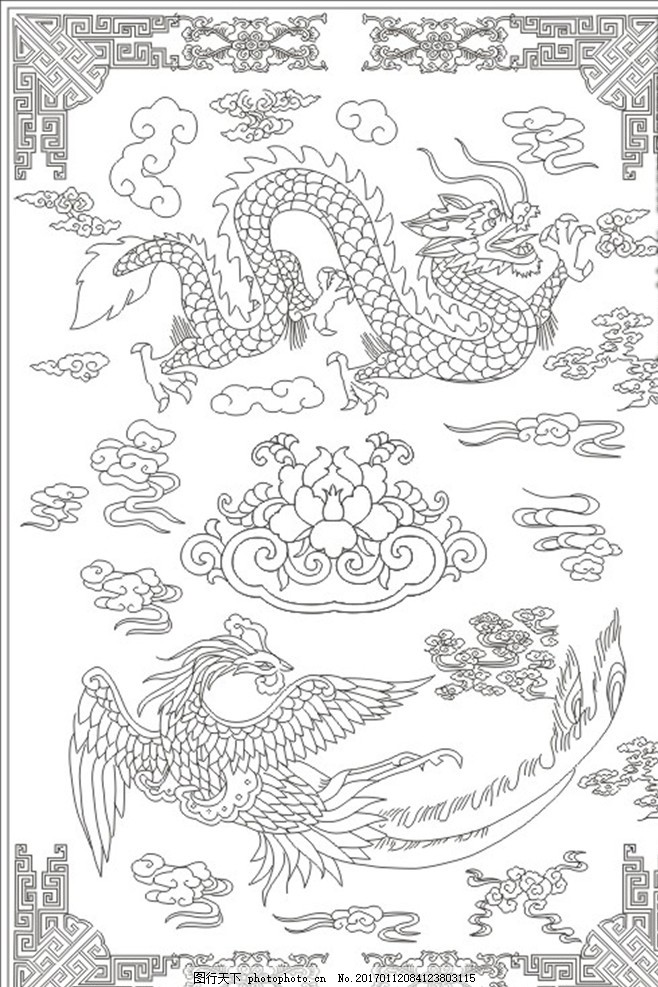线描图 龙 凤凰 线条 描边 雕刻 花纹 设计 文化艺术 绘画书法 cdr