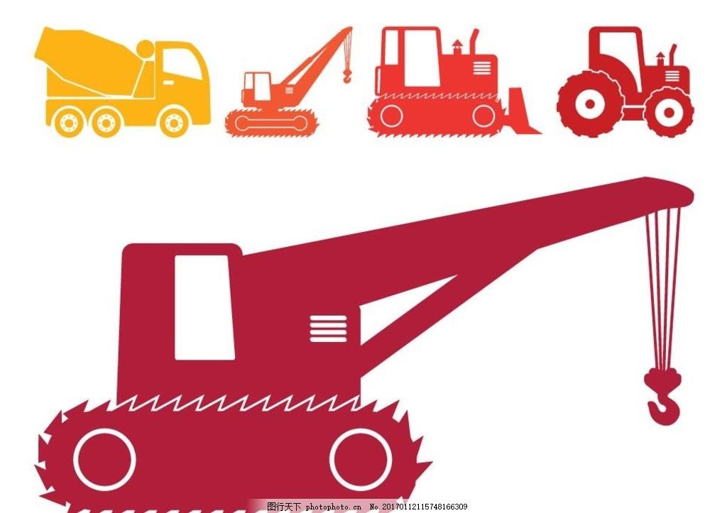 施工车剪影 铲车剪影 叉车 铲车图标 重型施工机械 建筑 建设