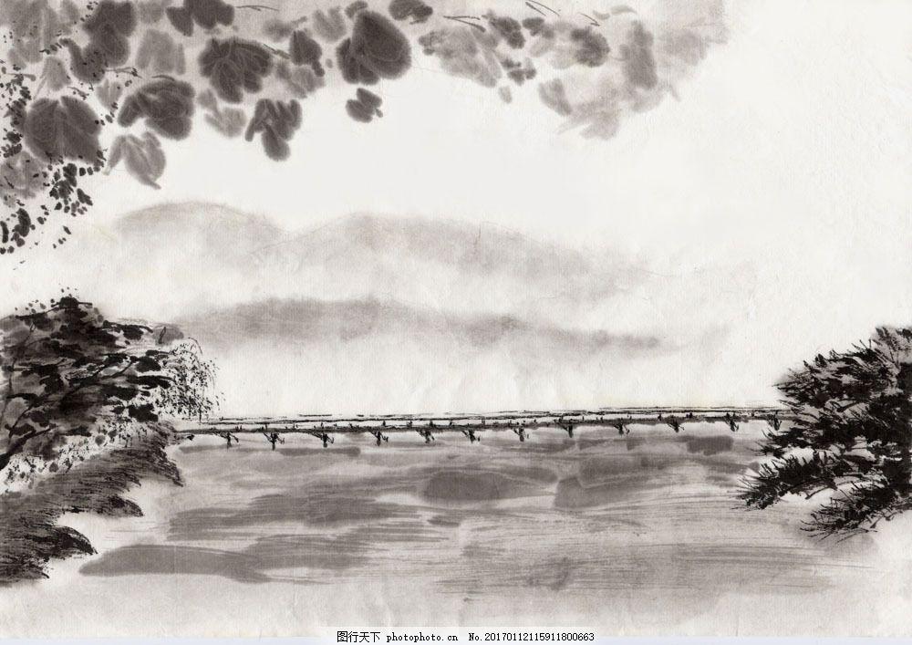 丹青 国画 水墨丹青      横构图 图片素材 水墨画 水墨风景 意境 树