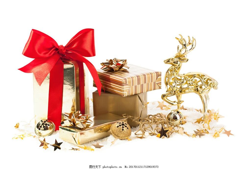 金色礼物盒与麋鹿图片素材 金色 礼物盒 麋鹿 铃铛 圣诞节 节日素材