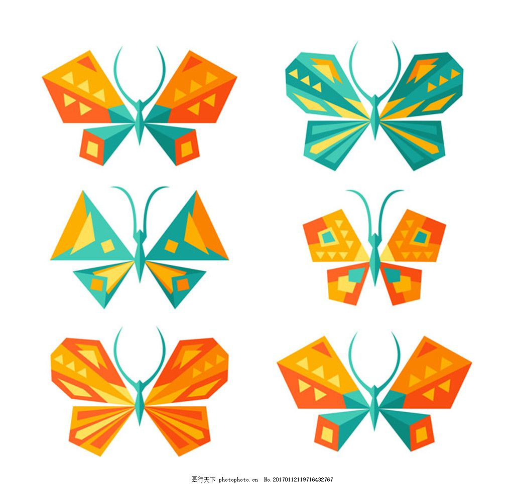 9款创意卡通动漫设计美术素材,昆虫动物蝴蝶3d设计几何矢量图片