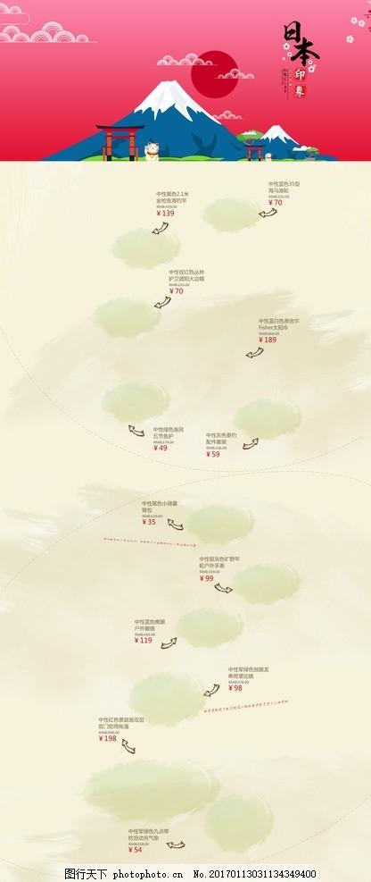 日本旅游 活动促销专题页面 日本印象 日本旅游海报 日本旅游路线