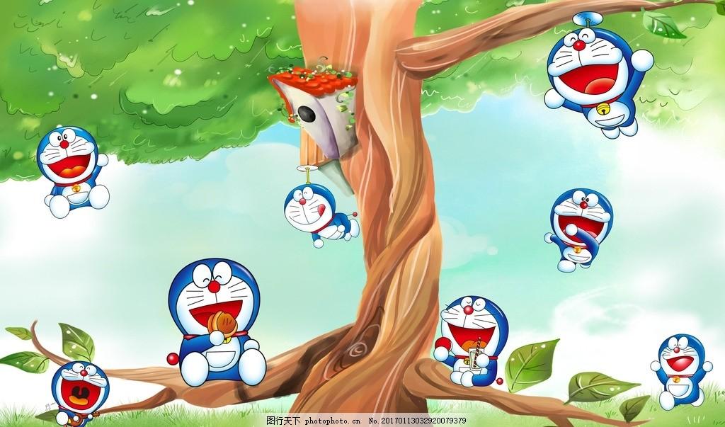 叮当猫 3d背景墙 儿童背景墙 卡通背景墙 蓝色3d背景 可爱 儿童 少儿