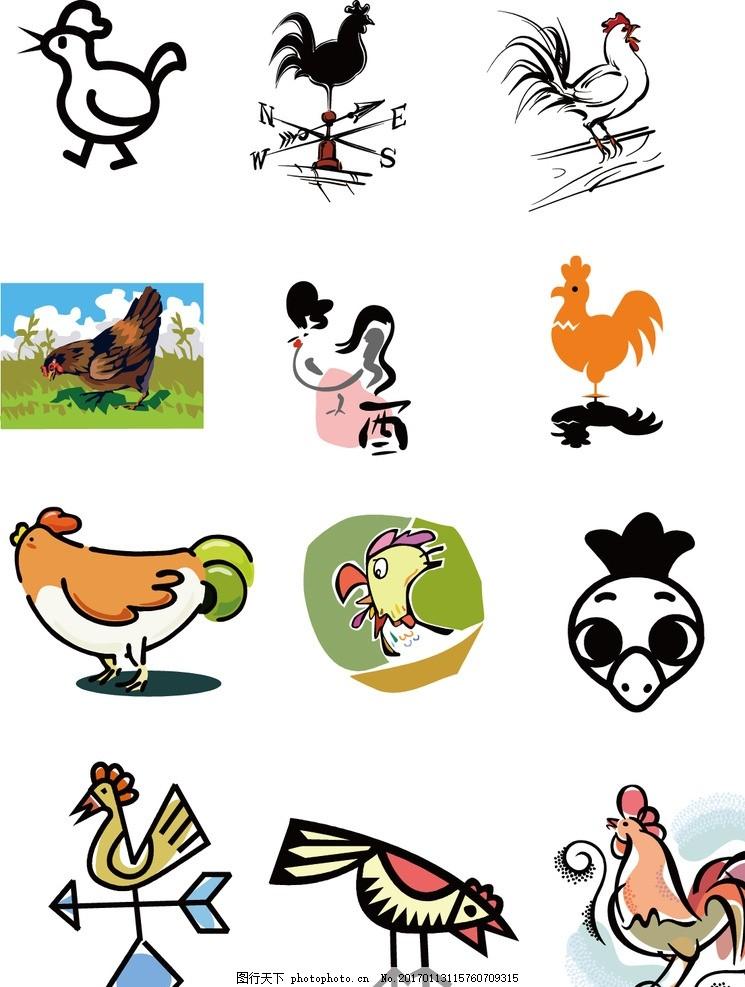 对联 春联 过年 春节素材 鸡年素材 卡通 漫画 插画 卡通鸡 小鸡漫画