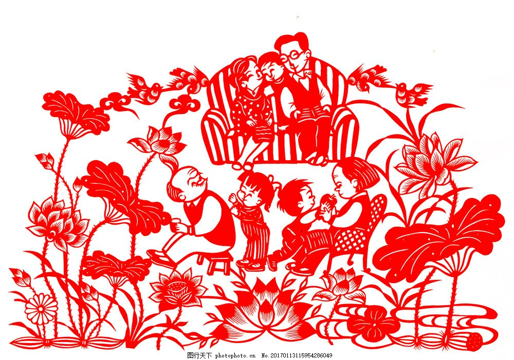 荷花家庭人物剪纸图片