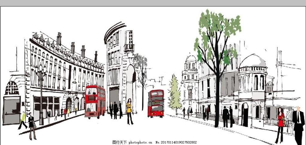 手绘城市建筑 线条城市 都市 人物 汽车 街道 背景 现代时尚系列