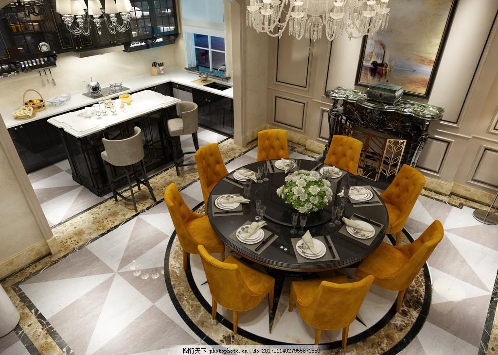欧式餐厅 欧式饭厅 餐厅 饭厅 欧式厨房      全抛釉 大理石 抛光砖