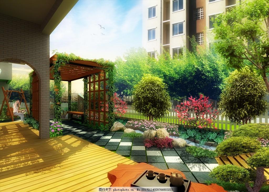 庭院 景观 设计 规划 平面图 彩平图 植物配置 造景 园林 psd 跌水 喷