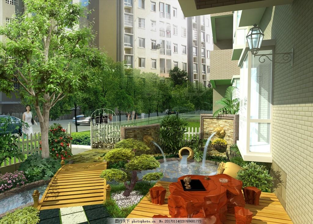 别墅 庭院 景观 设计 规划 平面图 彩平图 植物配置 造景 园林 psd
