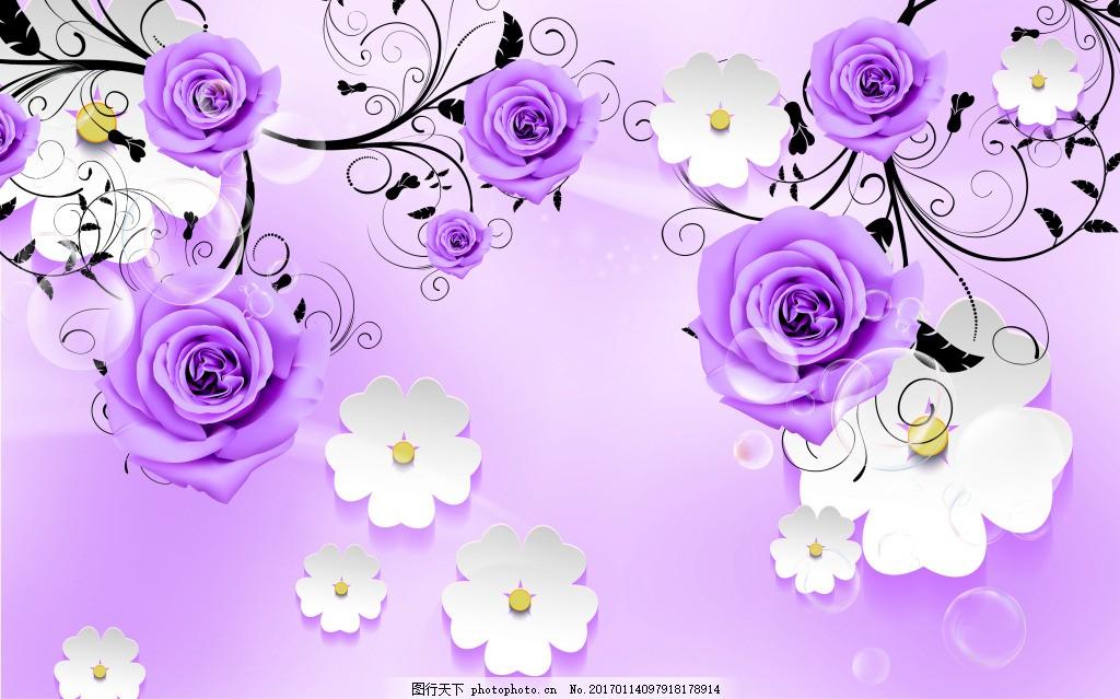 紫色装饰花卉背景墙 壁纸 风景 高分辨率图片 高清大图 建筑 装饰设计