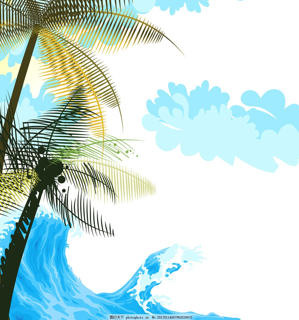 热带椰子树海浪装饰画 背景 壁纸 风景 高分辨率图片 高清大图