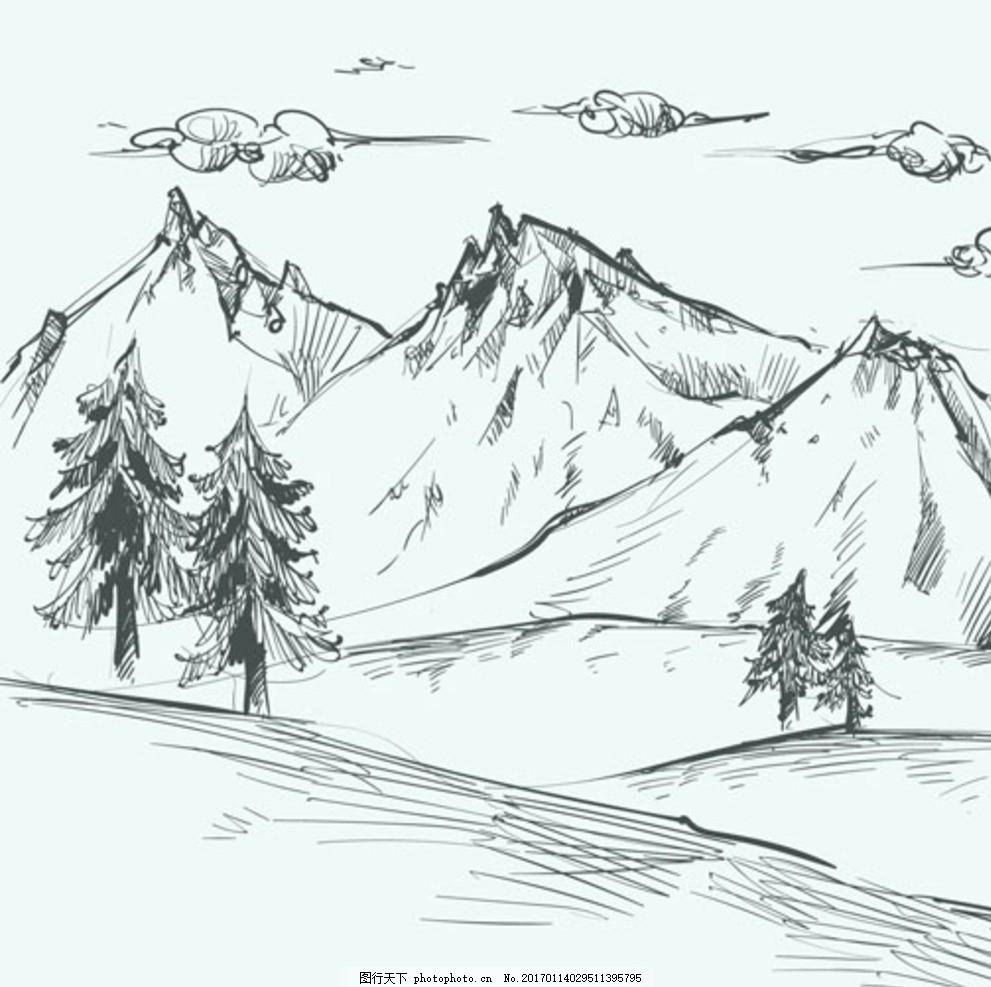 手绘山脉的风景 手绘田园风光 素描田园风光 矢量素材 田园风光素材