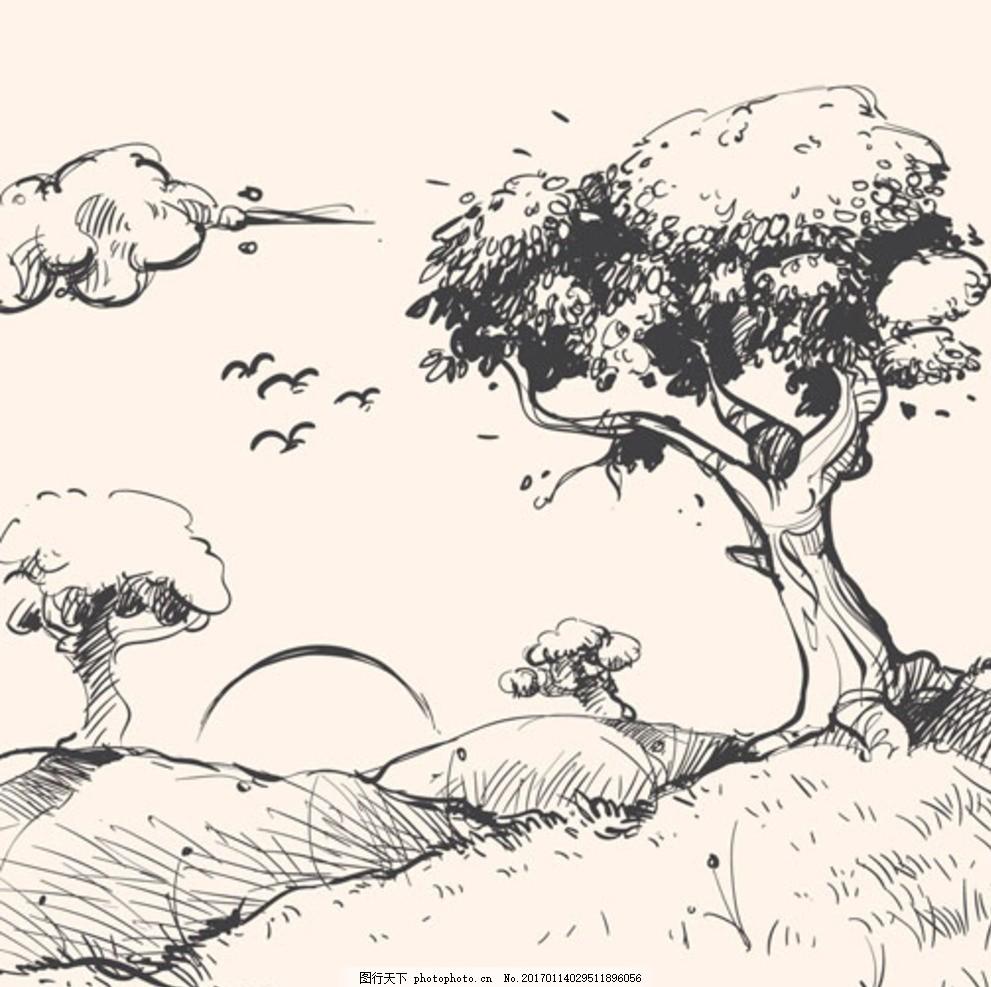 ai手绘素材 矢量图 田野 美景 乡下 农村 线描 树 小河 风车 云朵