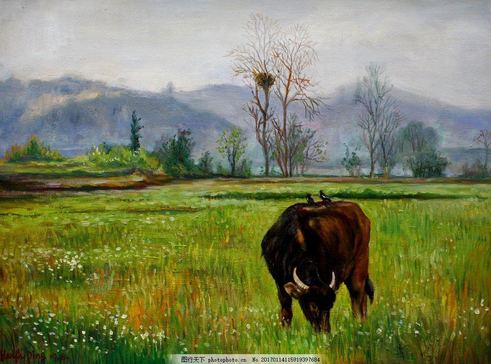 风景写生 绘画艺术 装饰画 书画文字 文化艺术 绘画艺术 吃草的牛油画