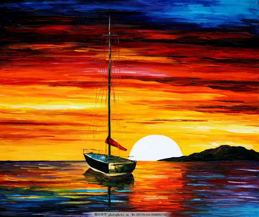 大海黄昏风景油画图片