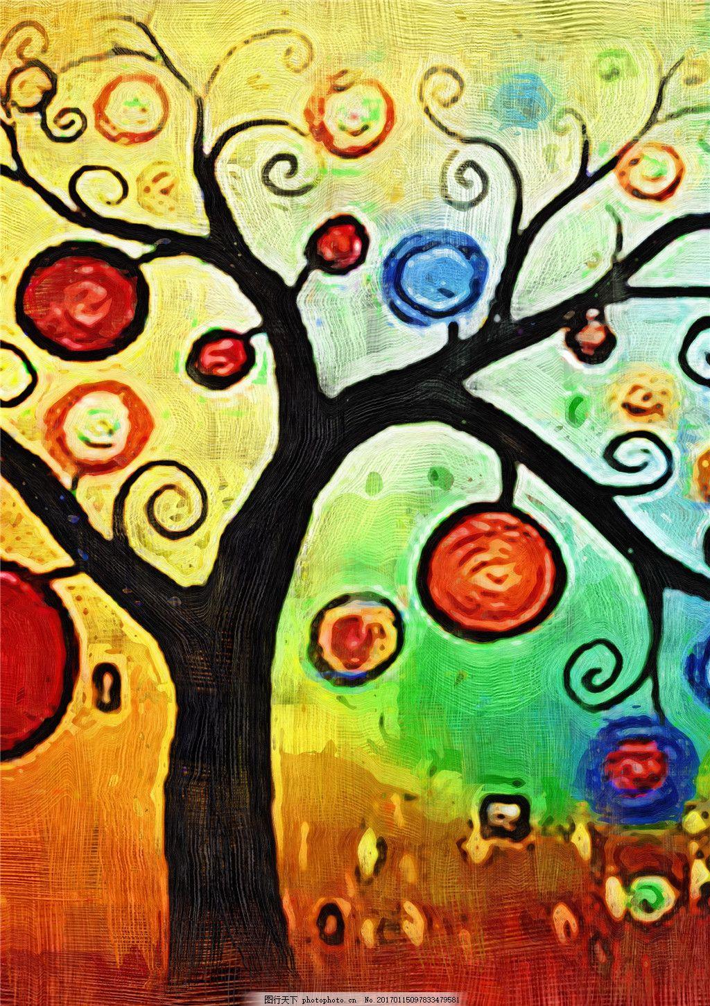 创意彩色圈圈树花装饰画 棒棒糖图片