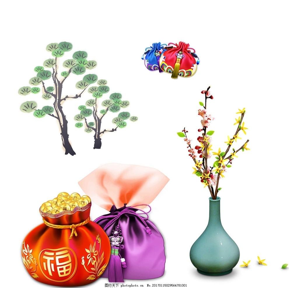 松树 花朵花瓶 创意花瓶 花瓶 彩色花瓶 梦幻花朵 梦幻 唯美 韩国素材