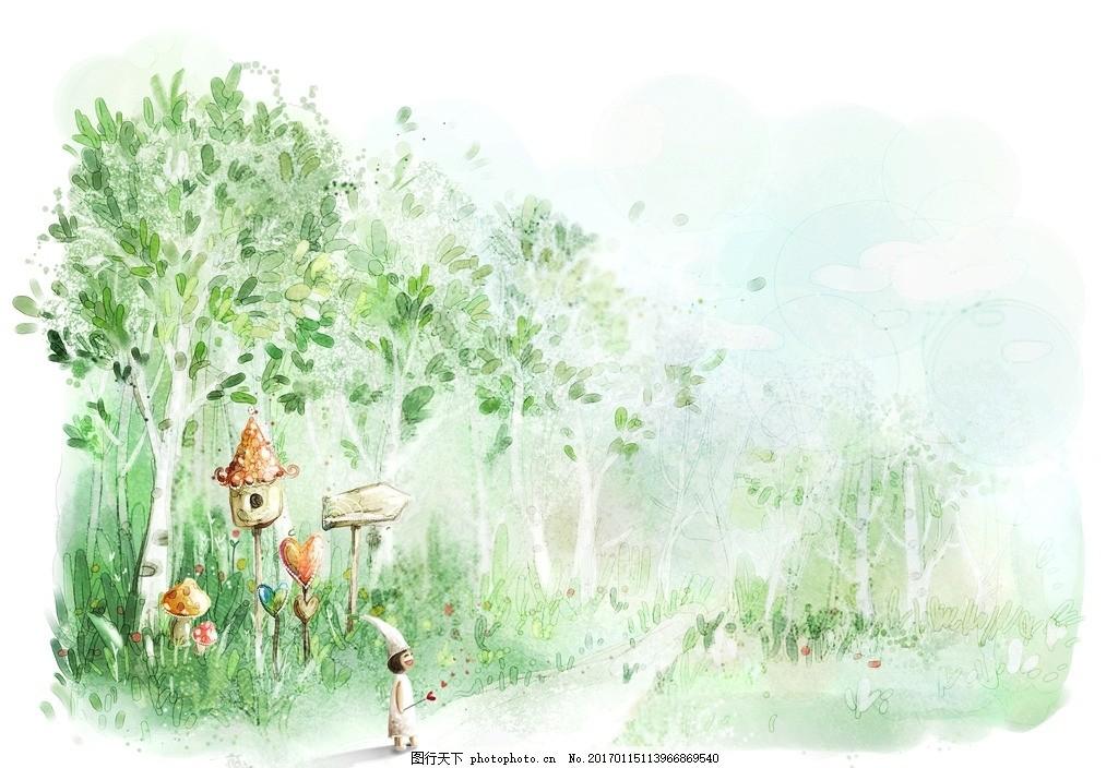 卡通人物 梦幻风景 浪漫小清新 设计 动漫动画 浪漫场景 温馨浪漫