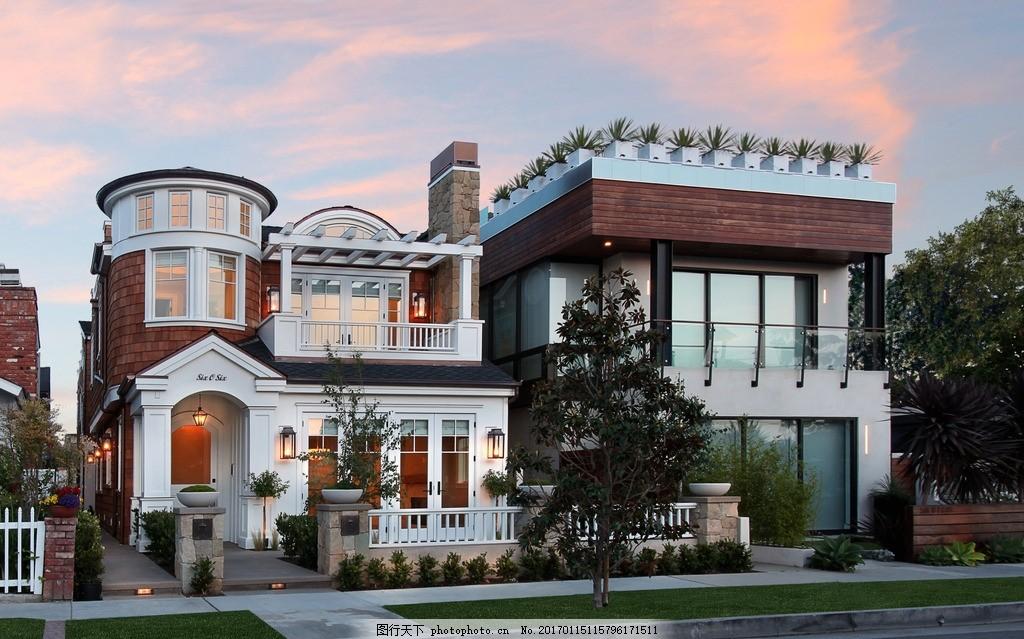别墅景观 洋房 独栋别墅 夕阳 建筑设计 装修 摄影 建筑园林 建筑摄影