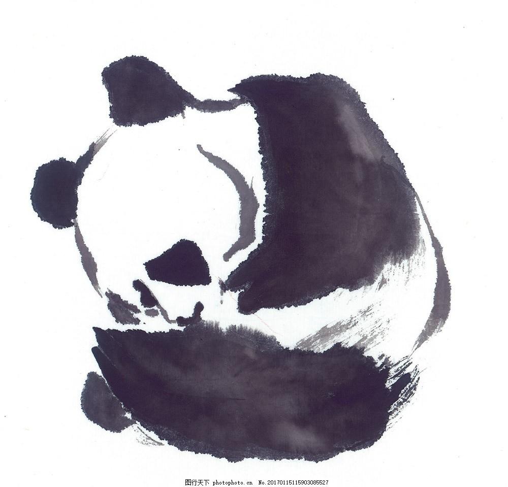 国画水彩熊猫图片素材 水墨画 中国画 中国艺术 绘画艺术 国画 装饰画