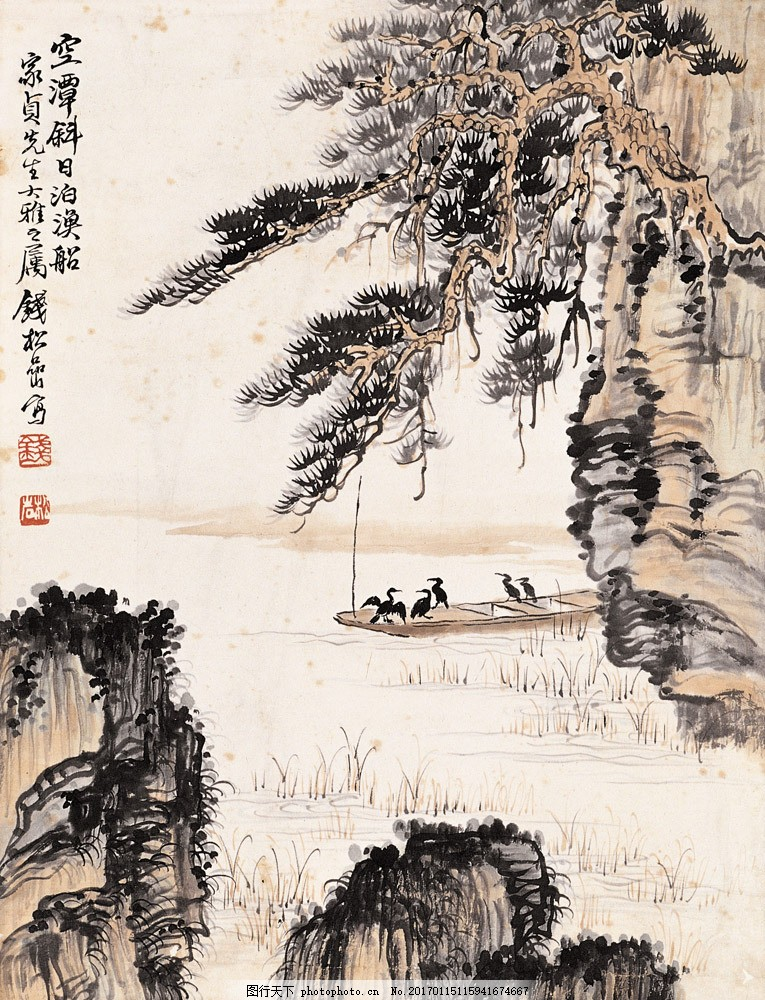 山水风景写意画图片素材 水墨画 名画 山水画 风景写意画 国画 中国画
