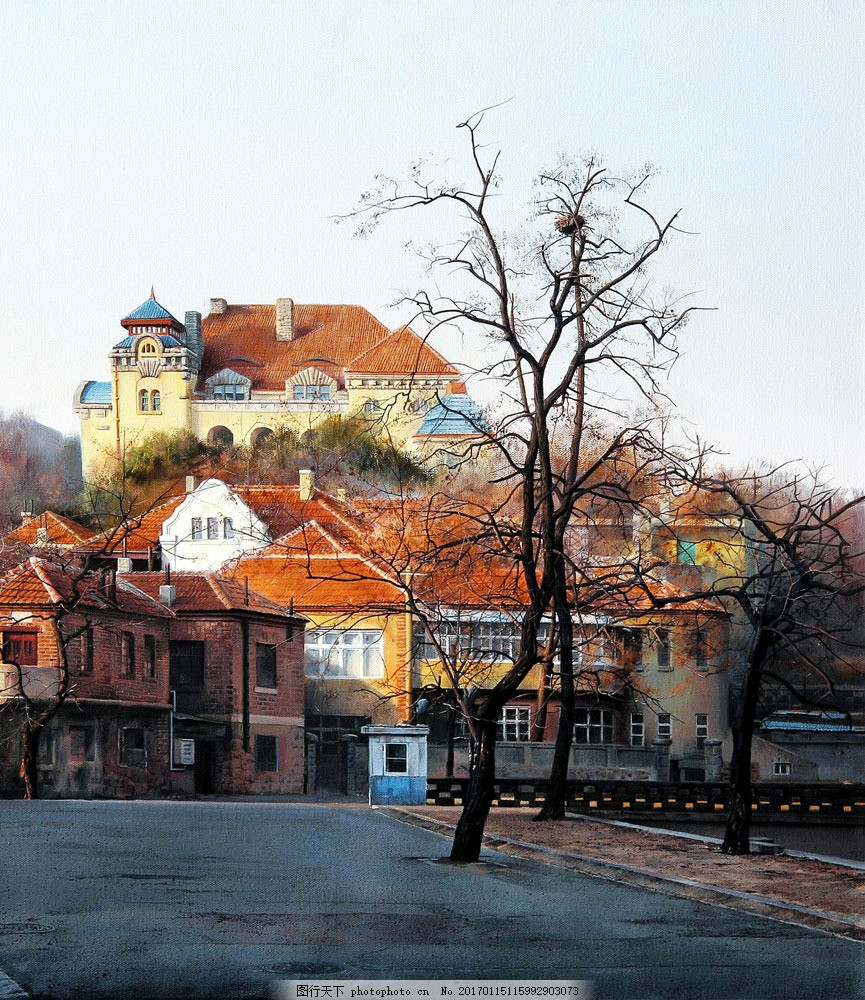 欧洲城市建筑风景油画图片素材 欧洲城市风景油画 油画风景写生 油画
