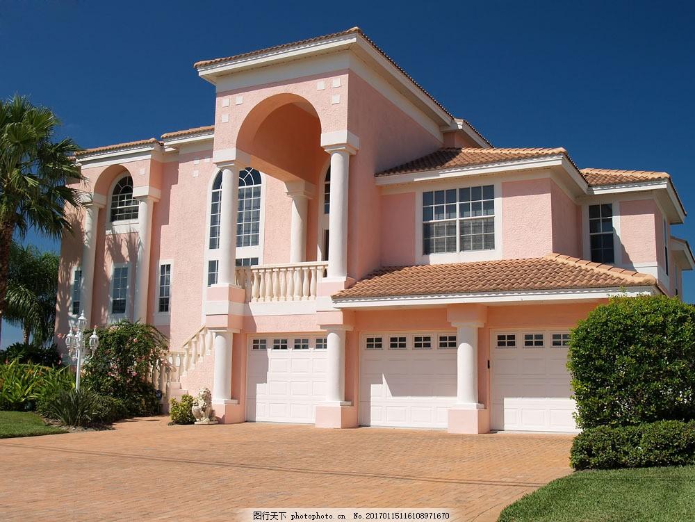 粉色别墅 粉色别墅图片素材 别墅庭院 欧式别墅 别墅设计 小洋房