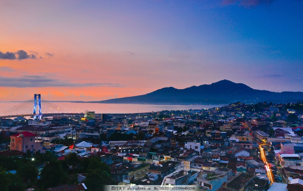 印尼美娜多 海岛旅游 夜晚 晚霞 海景 摄影 国外旅游
