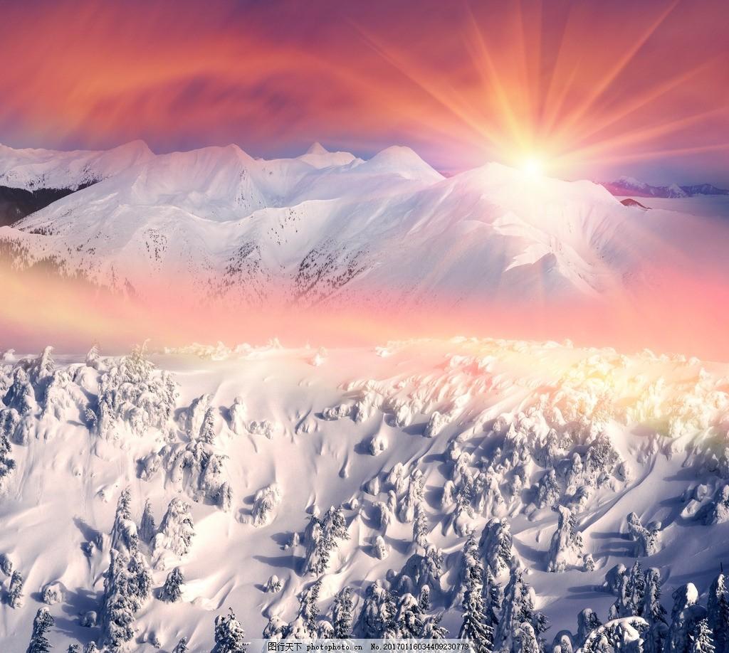 高清雪山风景图片素材下载 美丽雪山 湖泊景色 唯美景色 全景照片