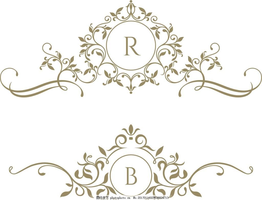 复古欧式花纹 矢量素材 圆形徽章 传统的 底纹边框