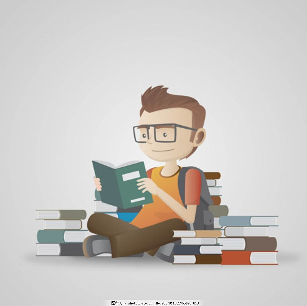 卡通看书的孩子学生 宝宝 宝贝 婴儿 儿童 幼儿园 小学生 中学生