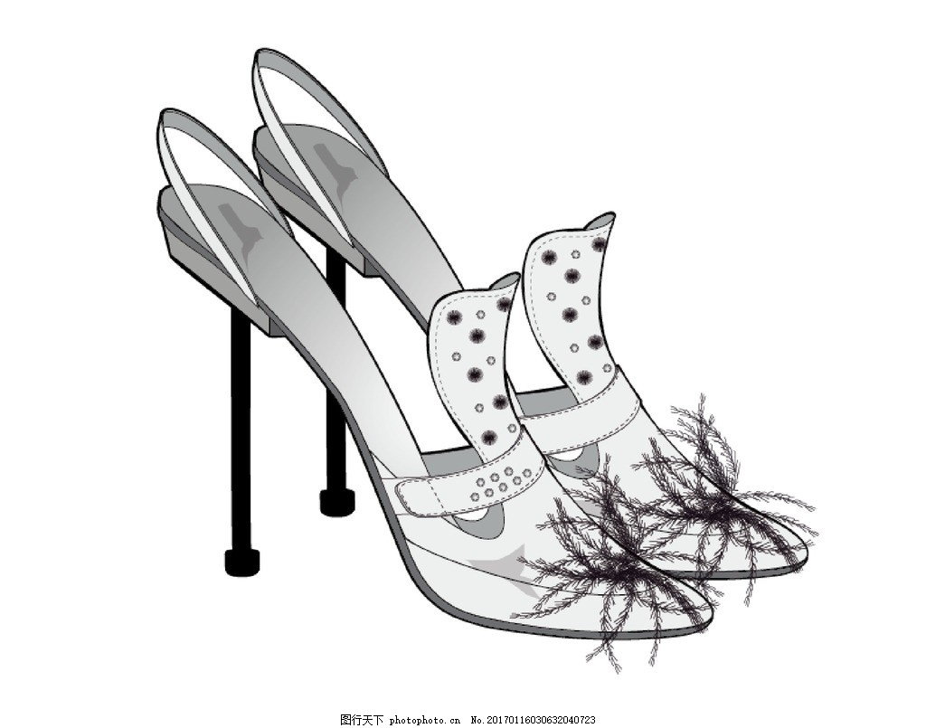 高跟鞋 鞋子 时尚高跟些 鞋 凉鞋 设计手稿 ai cdr tif 失量图 设计