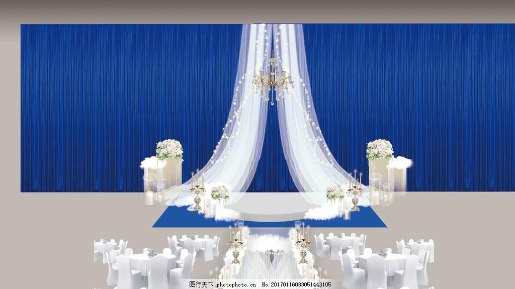 蓝色婚礼效果图 主题婚礼 欧式婚礼 蓝色主题婚礼 蓝色欧式婚礼