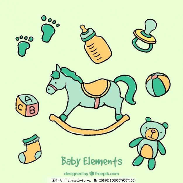 手绘婴儿元素 标签 婴儿 手 徽章 时尚 贴纸 手绘 可爱 儿童 祝贺