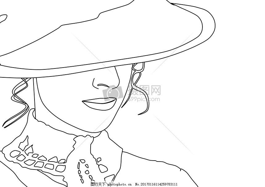 戴帽子的女人简笔画