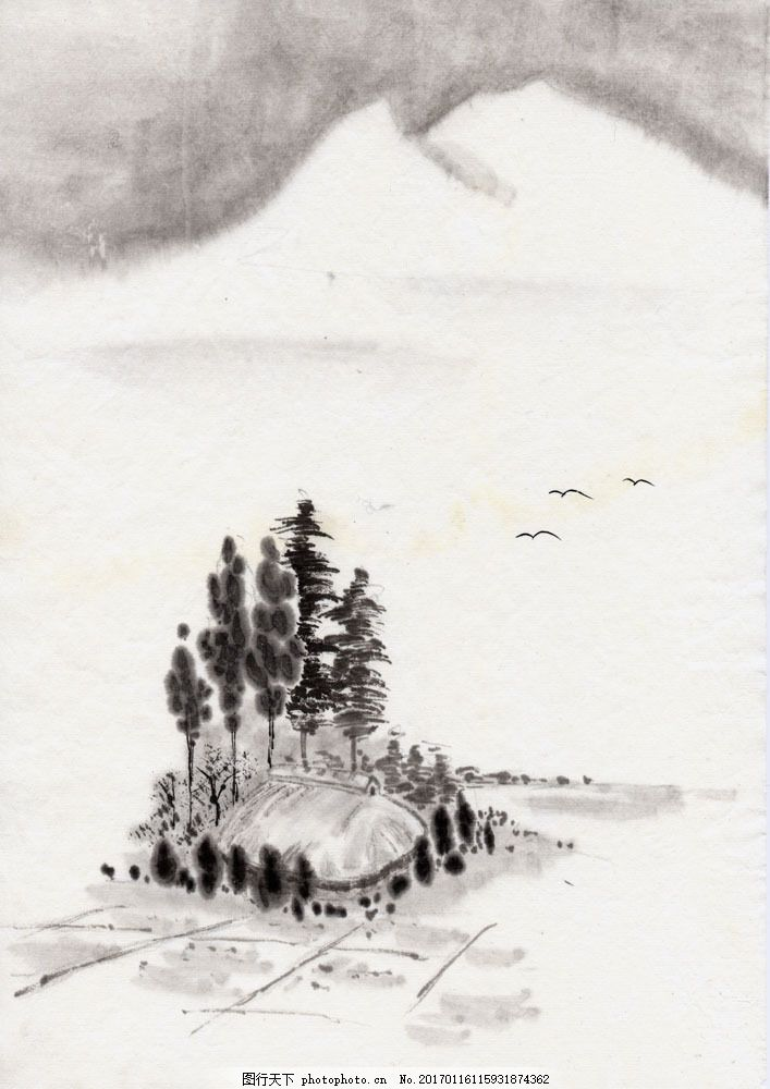 水墨风景 树木 大树 意境 房屋 大棚 田地 土地 远山 燕子 飞鸟 大雁