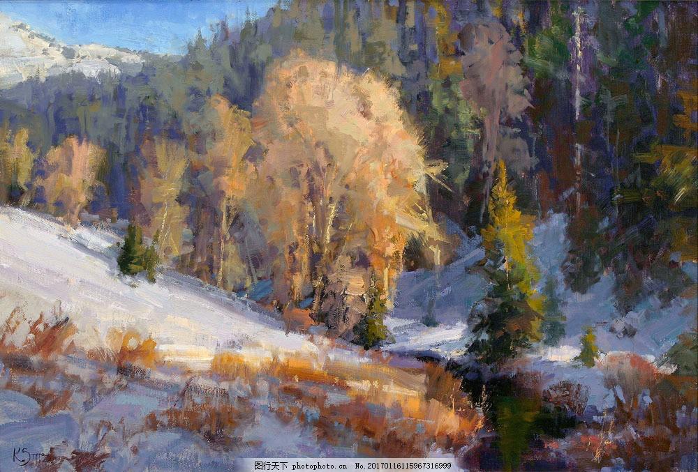 树林雪景油画图片素材 树林雪地风景油画写生 油画风景 油画艺术 绘画