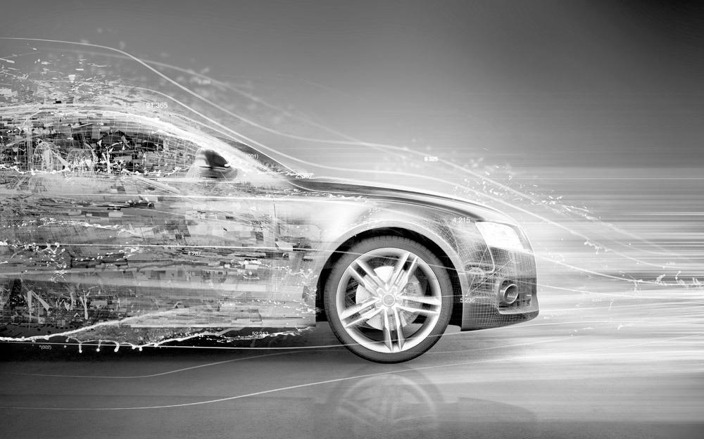 创意轿车广告图片素材 高速行驶的轿车 汽车 创意汽车广告图片