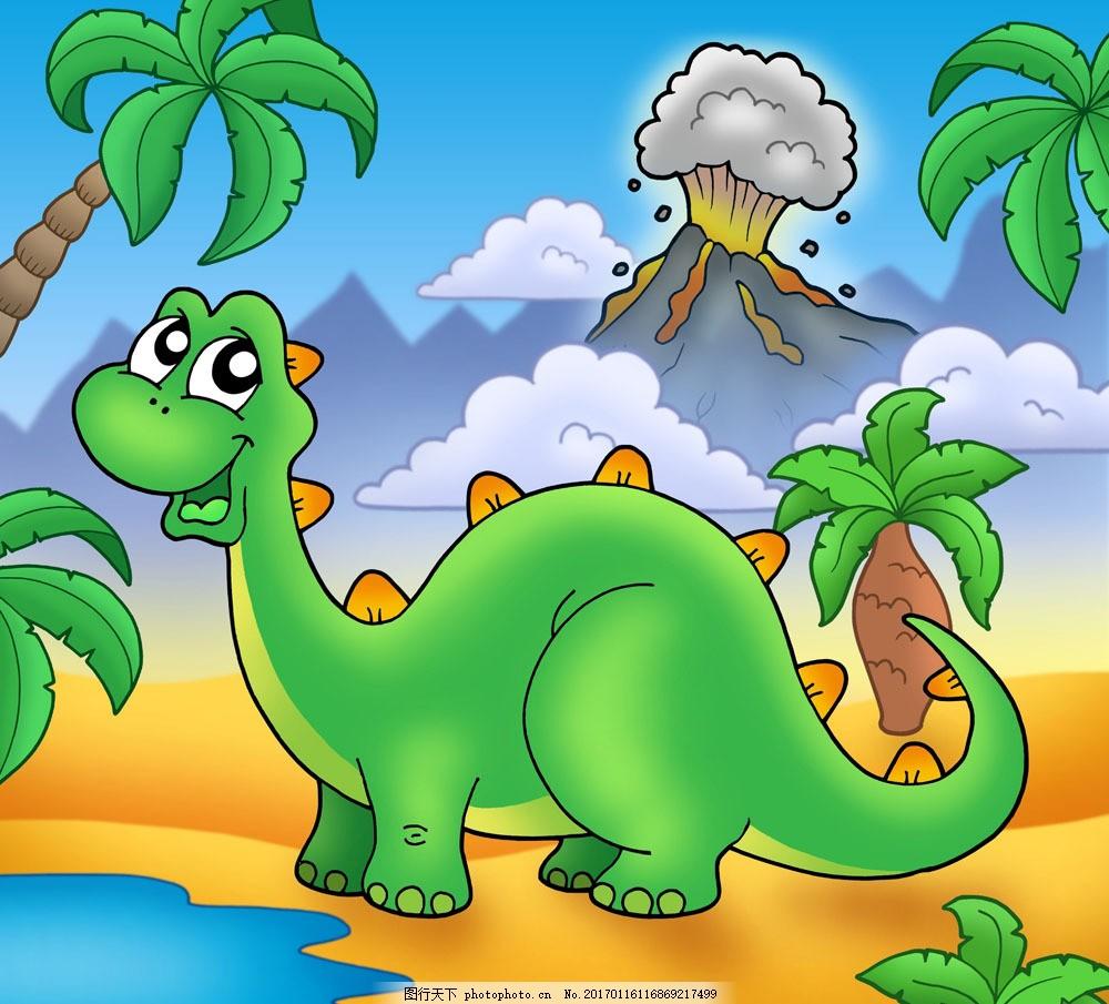 卡通恐龙与风景05图片