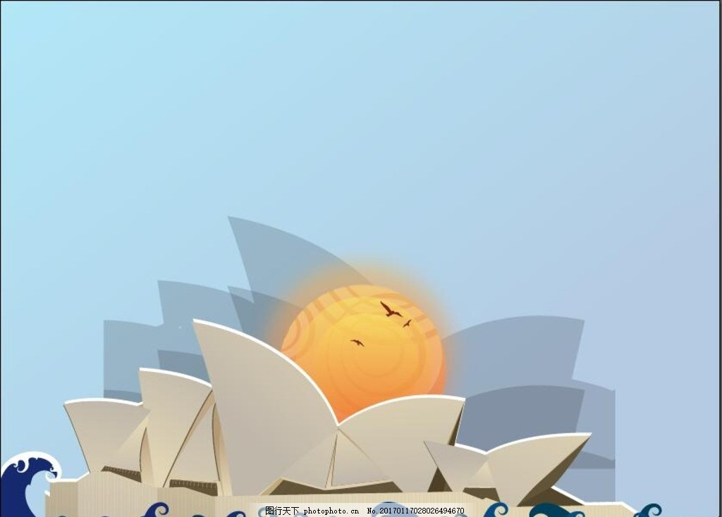 悉尼歌剧院矢量图 悉尼 悉尼歌剧院 澳大利亚 袋鼠 矢量图 城市 旅行