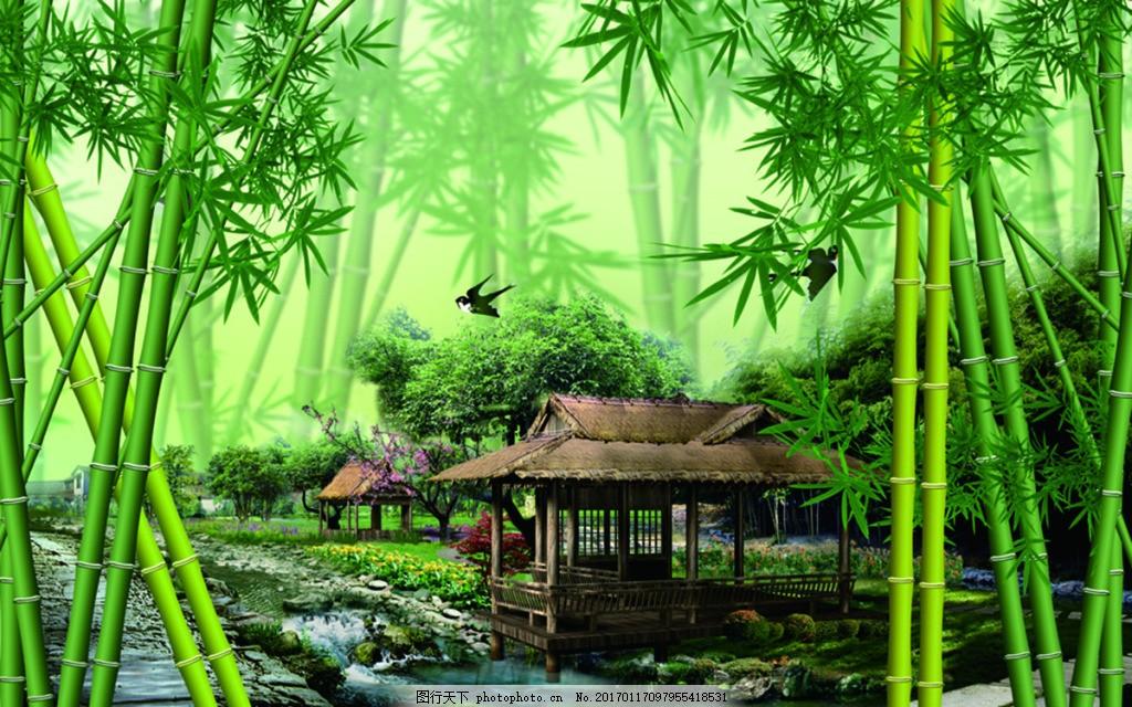 自然竹林装饰画 背景 壁纸 风景 高分辨率图片 高清大图 建筑