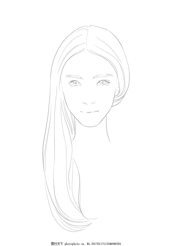美女头像线稿 女生 女孩 女生头像 底稿 服装画 动漫动画 动漫人物